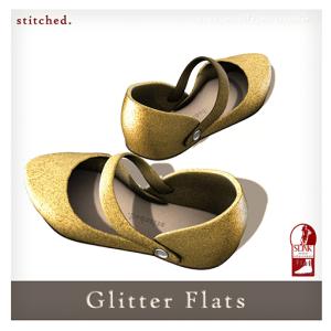 [Stitched] Glitter Flats AD