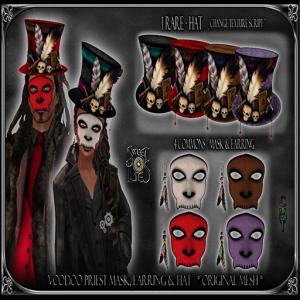 Voodoo Priest Mask, Earring & Hat - Sweet Lies Original jpg